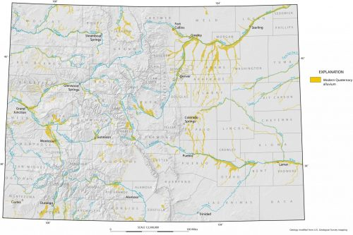 Map depicting the major Quaternary-age alluvial deposits within Colorado.