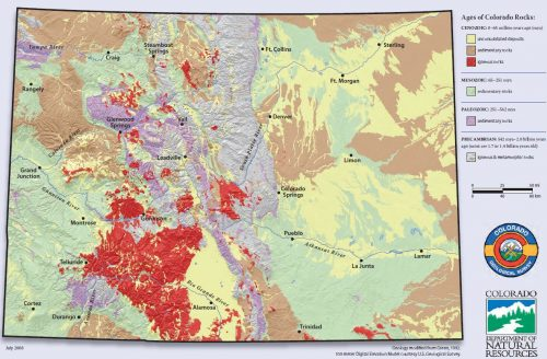 Map depicting the location of different types of rocks and their ages throughout Colorado.