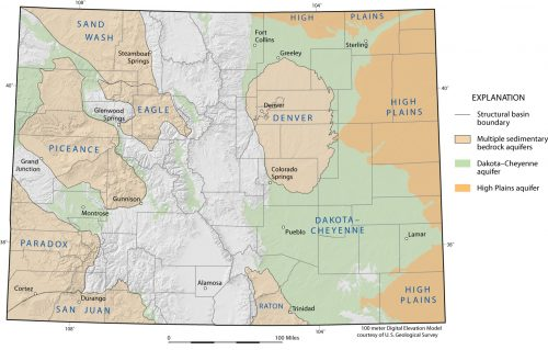 Map depicting the location of major sedimentary rock aquifers & structural basins within Colorado.
