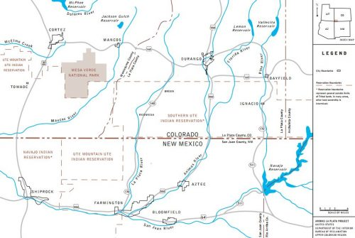 Map of the Animas-La Plata Project within Colorado & New Mexico.