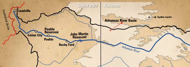 Map of Arkansas River Basin within Colorado & Kansas.