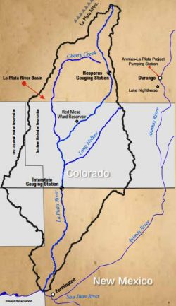 Map of the La Plata River Basin within Colorado and New Mexico.