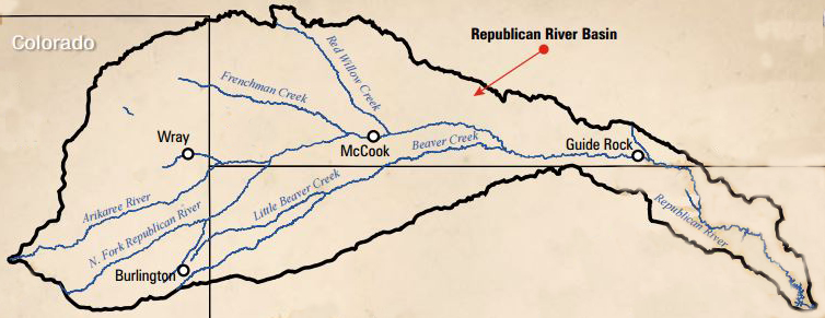 Map of the Republican River Basin found in Colorado, Nebraska & Kansas.