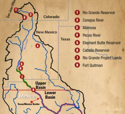 Map of the Rio Grande River Basin highlighting major structures & features found within.