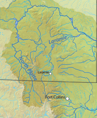 Map showing the Laramie River Basin within Colorado and Wyoming.
