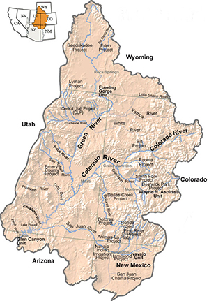 Map of the Upper Colorado River Basin.