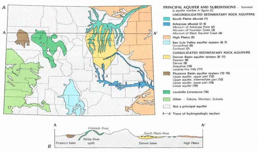 Map of the principal aquifers throughout the state of Colorado.