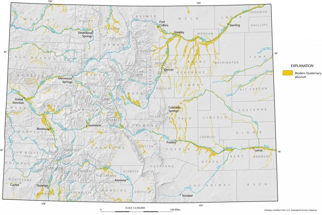 Map showing the location of major Quaternary-age alluvial deposits in Colorado.