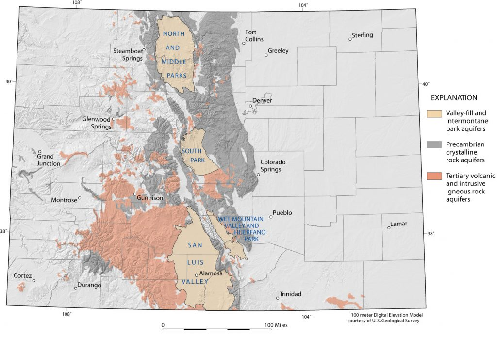 Map depicting the volcanic & crystalline rock aquifers located within Colorado.
