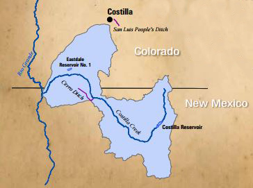 Map of Costilla Creek Compact Boundaries.