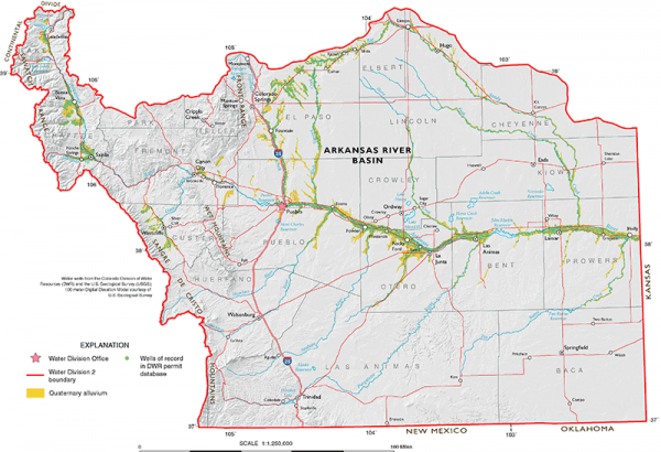 Map depicting the location of Arkansas Alluvial Aquifer.