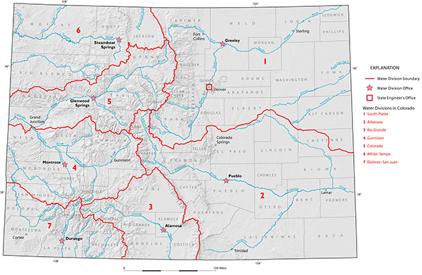 Map of Colorado's seven major river basins.