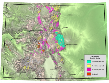 Map of the location of igneous rock formations throughout Colorado.