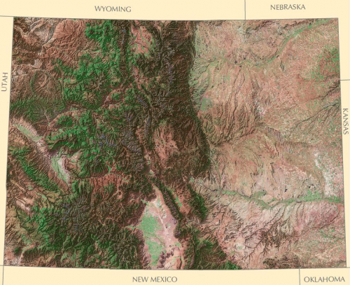 Map depicting the variations in Colorado's landscape.