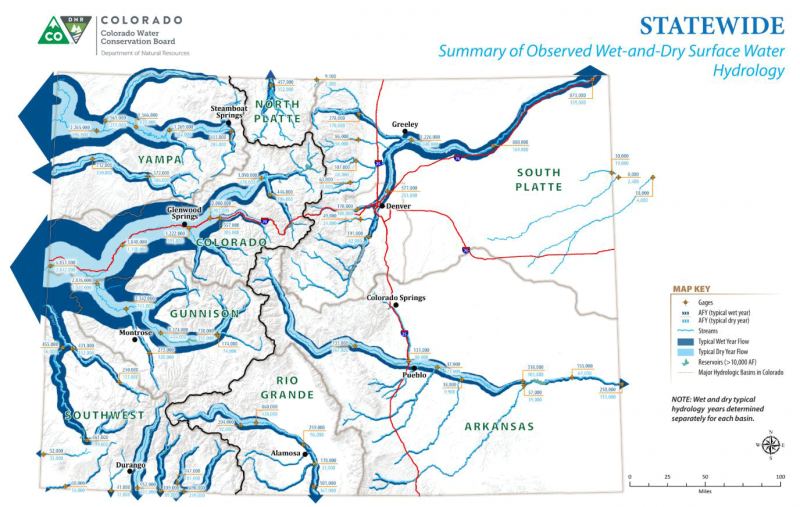 Map depicting the typical surface water hydrology of Colorado in wet and dry years.