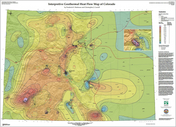 Interpretive geothermal heat flow map of Colorado.