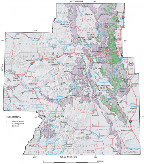 Map depicting the location & extent of Precambrian crystalline rocks in Colorado.