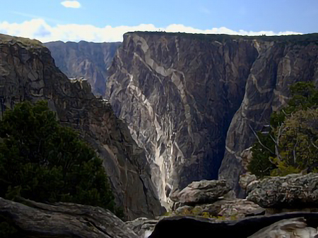 Photo of the Painted Wall located in the Black Canyon of the Gunnison, Colorado.