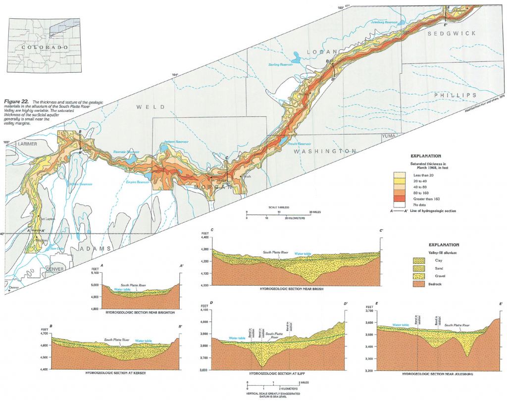 Map showing the location of the South Platte Alluvial Aquifer, and cross sections of different locations of the aquifer.